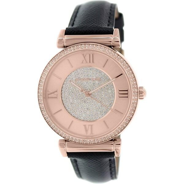 687e428ae36 Shop Michael Kors Women's Runway Black Leather Quartz Fashion Watch - Free  Shipping Today - Overstock - 18794380