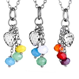 "Mutli Color Beaded Heart Drop Stainless Steel Necklace 18"" 3 Piece Set"