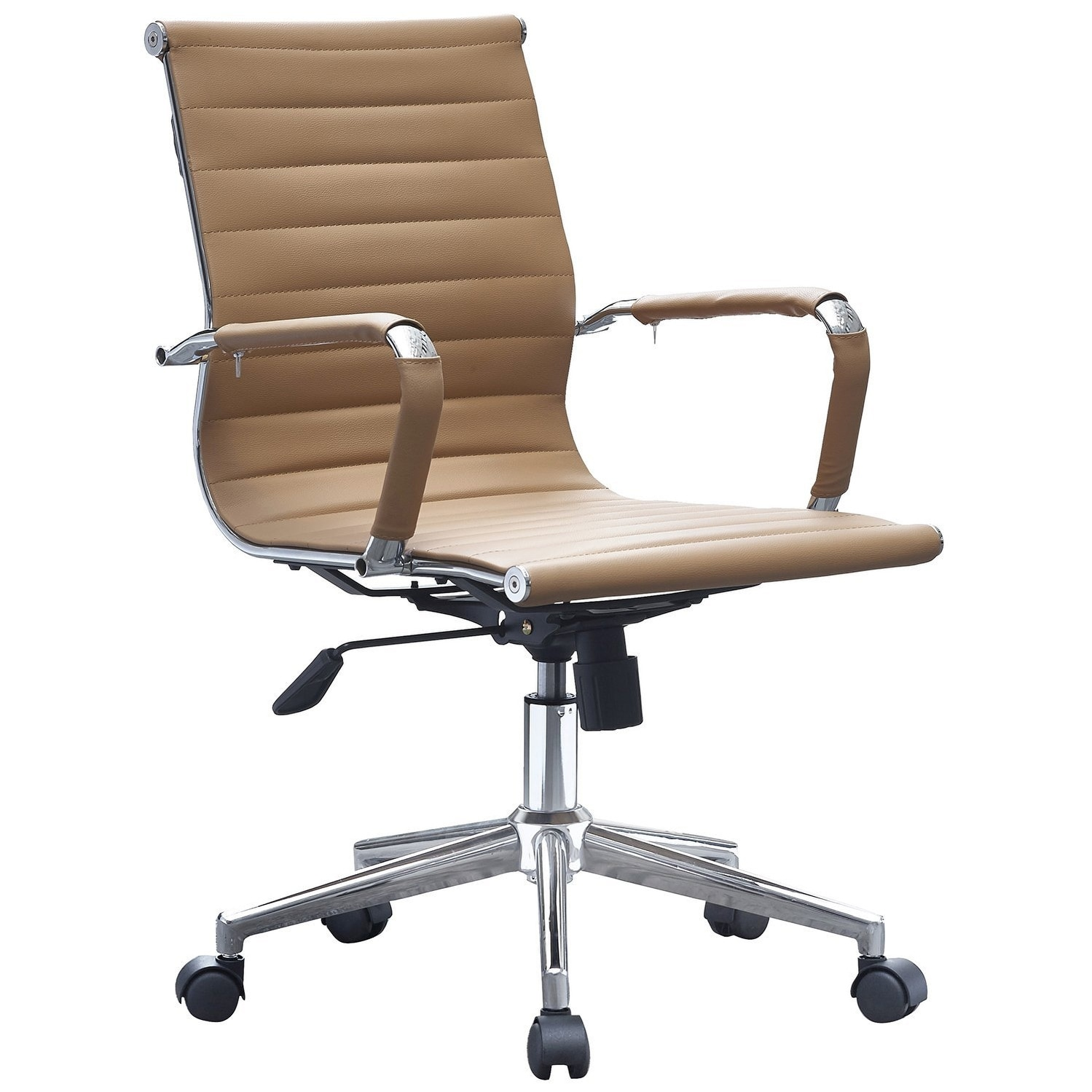 2xhome Tan Ergonomic Designer Mid Back PU Leather Executive Office Chair  Ribbed Swivel Tilt Conference Room Boss Home Wheels