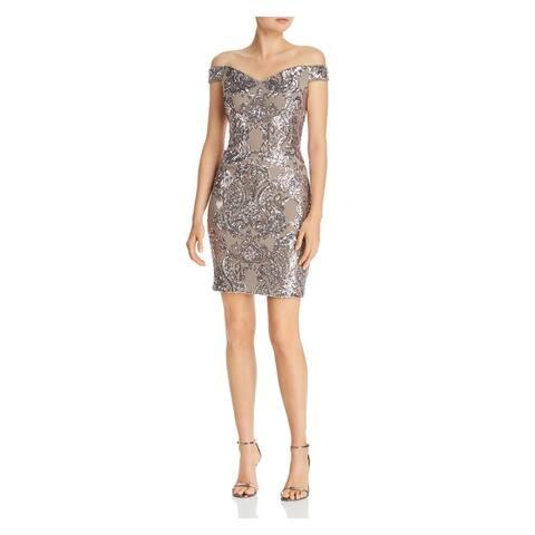 AQUA Beige Sleeveless Short Dress 10