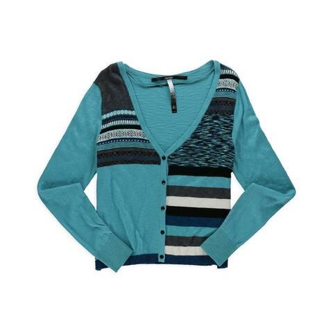 Kensie Womens Cropped Knit Cardigan Sweater, Green, Medium