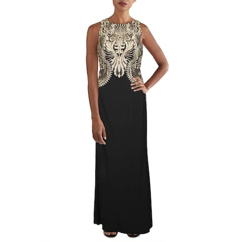 Cachet Womens Evening Dress Embellished Embroidered - Navy/Silver