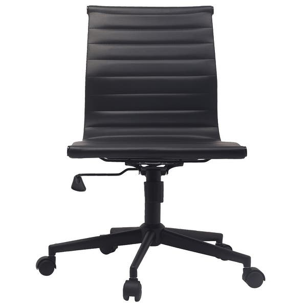 2xhome Black Swivel Adjustable Height Pu Leather Office Chair Mid Back Armless No Arms Side Ribbed Task Work On Black Base Overstock 29587686