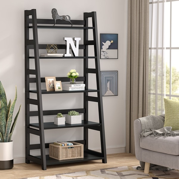 Industrial 5 Tier Ladder Shelf Bookshelf Bookcase for Living Room. Opens flyout.