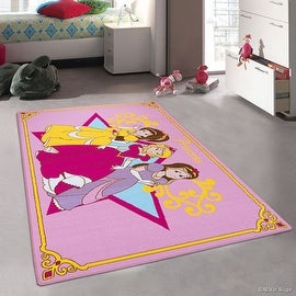 """AllStar Purple Rug Kids / Baby Room Area Rug. Princess Bright Colorful Vibrant Pink Colors (4' 11"""" x 6' 11"""")"""