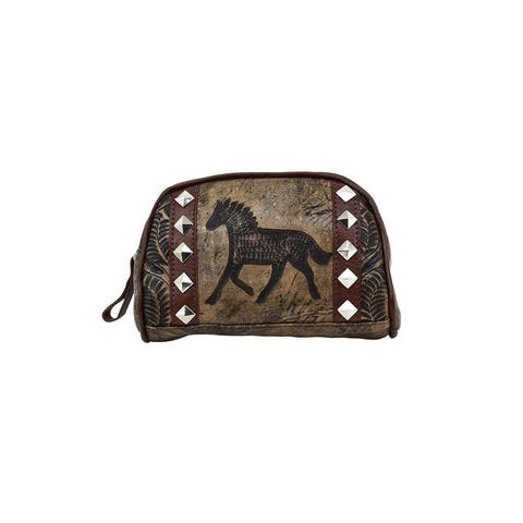 American West Western Cosmetic Case Womens Hitchin' Charcoal - Distressed Charcoal - 8 x 5 x 2.5