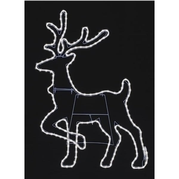 "38"" Pure White LED Lighted Outdoor Deer Head Up Silhouette with Neon Flex Rope Lights"