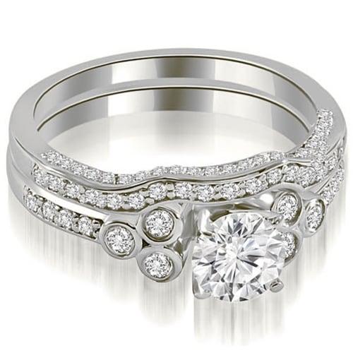 1.19 cttw. 14K White Gold Round Cut Diamond Bridal Set
