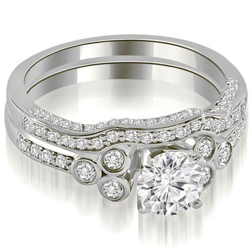 1.69 cttw. 14K White Gold Round Cut Diamond Bridal Set