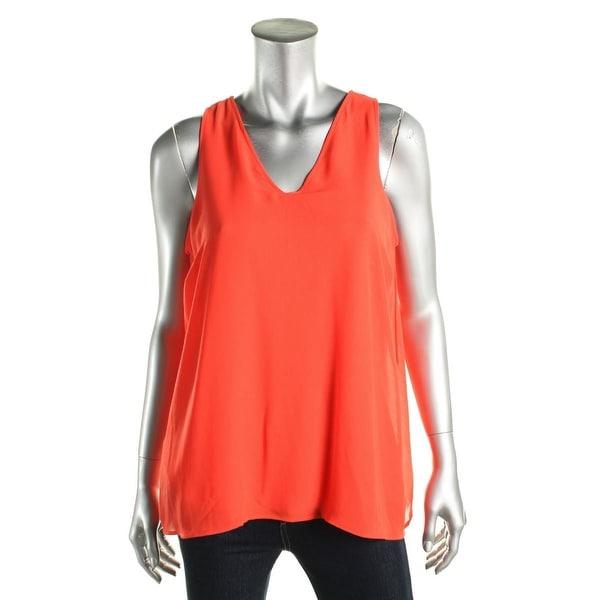 Lauren Ralph Lauren Womens Pullover Top Deep V-Neck Lined