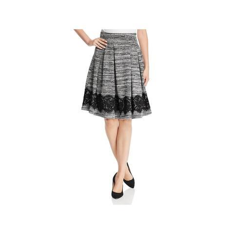 Karl Lagerfeld Womens Pleated Skirt Lace Hem Marled