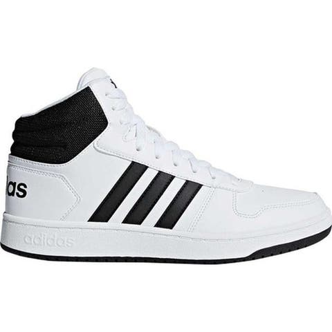 adidas Men's Hoops 2.0 Mid Basketball Shoe White/Black/Black