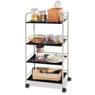 Costway 4 Tier Rolling Cart Storage Display Rack Mesh Shelf Utility Organizer Wheels - White&Black