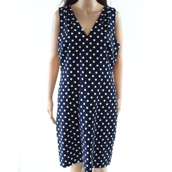 b0c482692466c J. Crew Deep Blue Womens Size 14 Polka-Dot V-Neck Sheath Dress