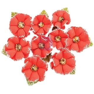 Prima Marketing Fabric Flowers W/Beads & Flocking 9/Pkg-Papaya