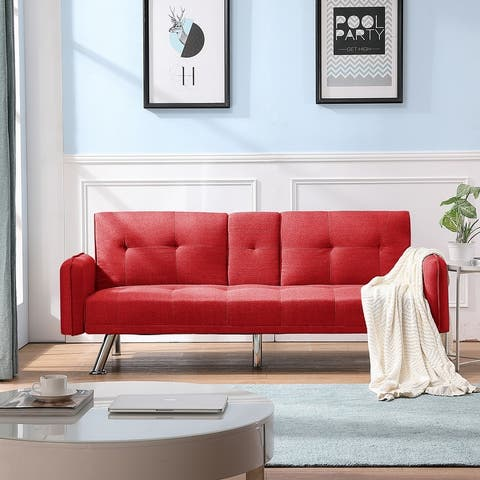 "Global Pronex Futon Couch Bed, Modern Button-Tufted Sofa Bed, Metal Legs - 2 Cupholders - 74.8""L x 30.3""W x 30.7""H"