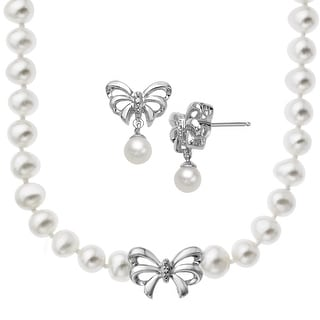 Pearl Bow Necklace & Earring Set with Diamonds in Sterling Silver