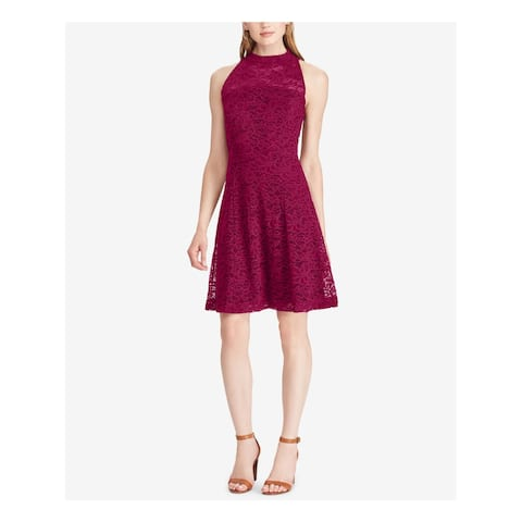 AMERICAN LIVING Womens Maroon Lace Sleeveless Turtle Neck Knee Length Fit + Flare Cocktail Dress Size: 6