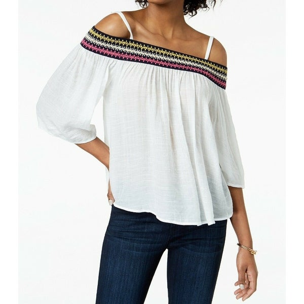 BCX White Women's Size XS Embroidered 3/4 Sleeve Off Shoulder Blouse