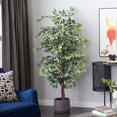 "Ficus Tree Artificial Decorative Foliage 75"" Height Green - 36X36X75"