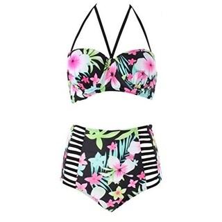 Milan Kerr Womens Plus Floral Print Vintage Bikini Swimsuit - 3Xl
