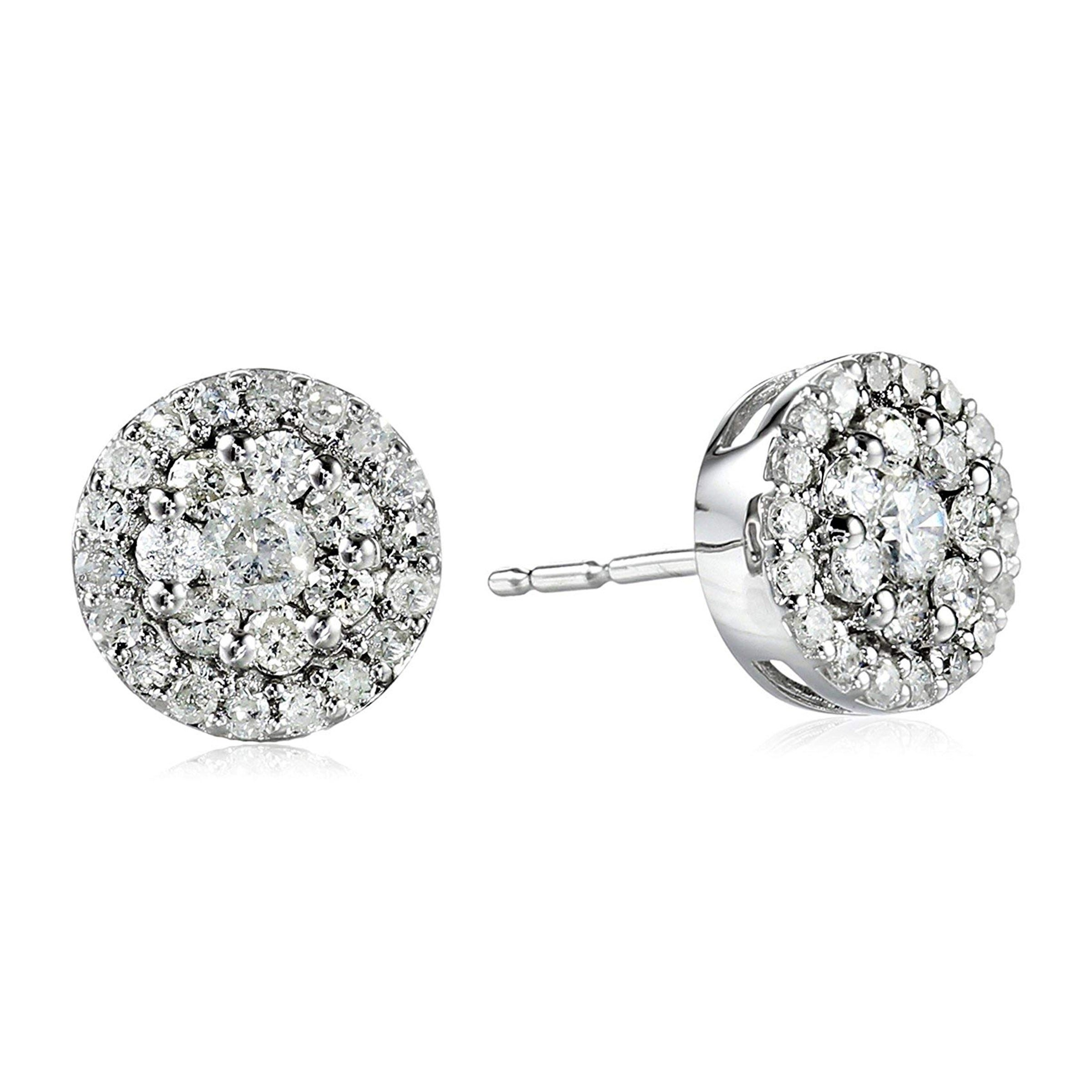2Ct Round Cut Diamond Cluster Stud Earrings Screw Back 10K Yellow Gold Over