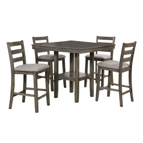 5 Piece Dining Set with 4 Fabric Padded Chairs and 1 Square Table, Gray