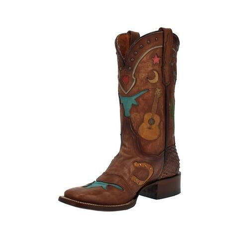 Dan Post Western Boots Womens Dream Leather Stockman Square Tan