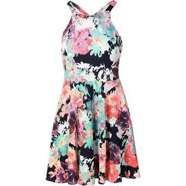 Aqua Womens Sleeveless Floral Print Casual Dress