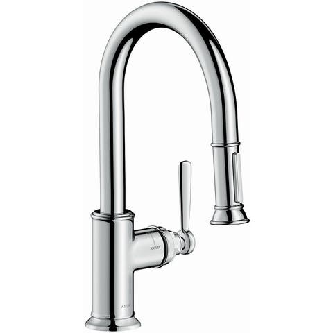 Axor 16584 Montreux Single Handle Pull-Down Spray Prep Kitchen Faucet with Toggle Spray Diverter - Engineered in Germany,