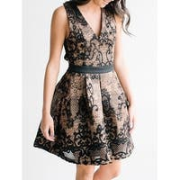 Endless Rose Womens Small V-Neck Pleated A-Line Dress