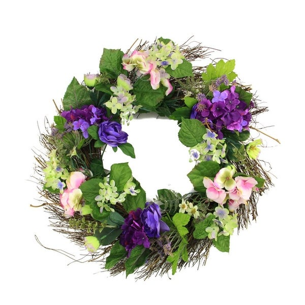 "22"" Decorative Purple & Pink Silk Hydrangea & Dogwood Flower Artificial Spring Floral Wreath"