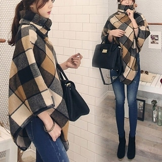 Link to Plaid Shawl Stitching Woolen Coat Female Similar Items in Women's Outerwear