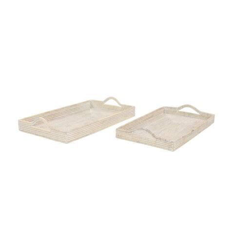 Handwoven Large Rectangular Whitewash Bamboo Trays Set of 2 - 26 x 16 x 3