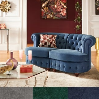 Morgan Velvet Tufted Scroll Arm Chesterfield Curved Loveseat by iNSPIRE Q Bold