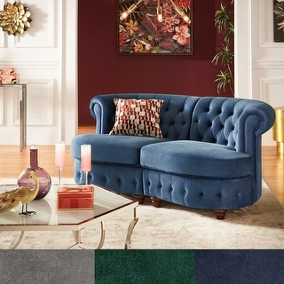 Link to Morgan Velvet Tufted Scroll Arm Chesterfield Curved Loveseat by iNSPIRE Q Bold Similar Items in Sofas & Couches