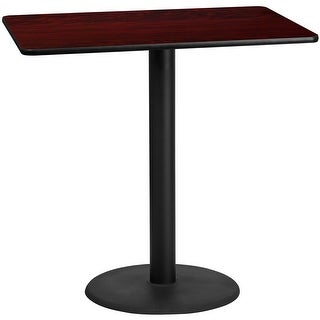 "Dyersburg 30'' x 48'' Rectangular Mahogany Laminate Table Top w/42"" High Round Base"