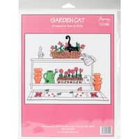 """Garden Cat Counted Cross Stitch Kit-9.5""""X7.75"""" 14 Count"""