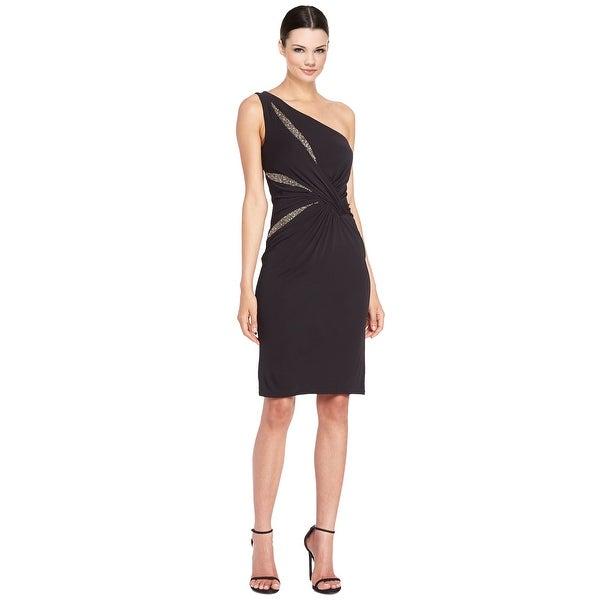4021a9f2 Shop David Meister Beaded One Shoulder Matte Jersey Cocktail Dress ...