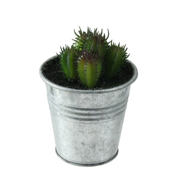 """3.5"""" Adorable Tropical Green and Red Mini Artificial Cactus in Tin Pot - N/A"""