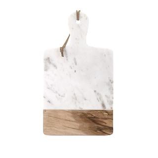 "IMAX Home 82511  Addy 18-1/2"" Long Wood and Marble Fruit and Cheese Board - White"
