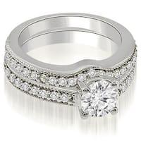 1.04 cttw. 14K White Gold Antique Cathedral Round Diamond Bridal Set