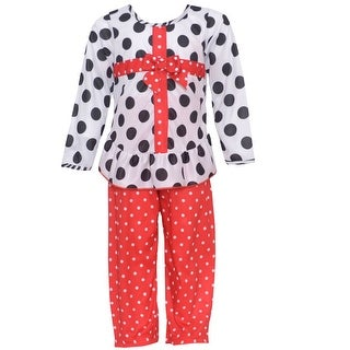 Laura Dare Little Girls Black White Red Dot Bow Package 2 Pc Pajama Set 3T