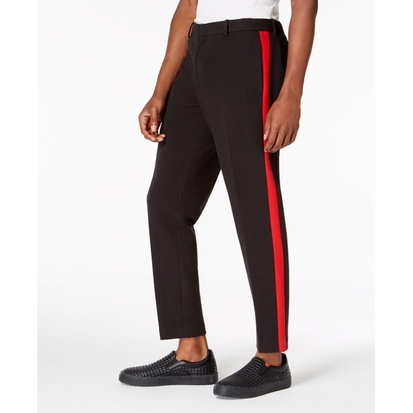 320d2b86f0 Shop INC Black Red Combo Mens 34 Side Stripe Slim Fit Crop Knit Pants - Free  Shipping On Orders Over $45 - Overstock - 28259382