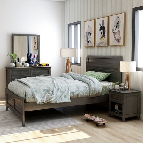 Furniture of America Wese Transitional Grey 4-piece Bedroom Set