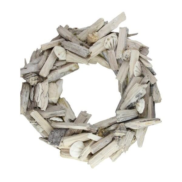 "13"" Nautical Driftwood and Seashell Artificial Summer Wreath - WHITE"