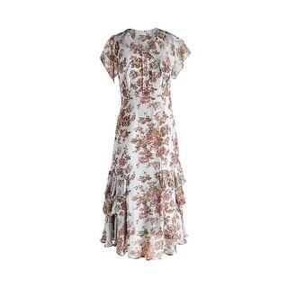 "April Cornell Women's Sleeveless Dress - Tea Length Floral Print - 44"" Long"