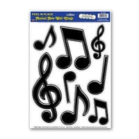"""Club Pack of 96 Black 50's Rock & Roll Musical Note Peel 'N Place Decorations 17"""""""