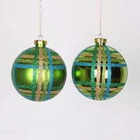 "4ct Lime Green w/ Blue, Green & Gold Glitter Plaid Shatterproof Christmas Ball Ornaments 4"" (100mm)"