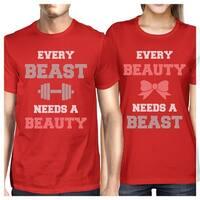 Every Beast Beauty Matching Couple Gift Shirts Red Cute Anniversary